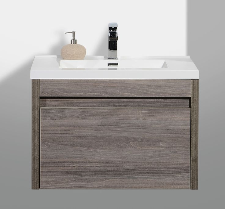 "Bathroom Vanities - Labrador Maple Grey Collection - Modern / 30"" / Wall-Hung / Maple Grey Wood Imitation / Soft-Closing / Melamine"