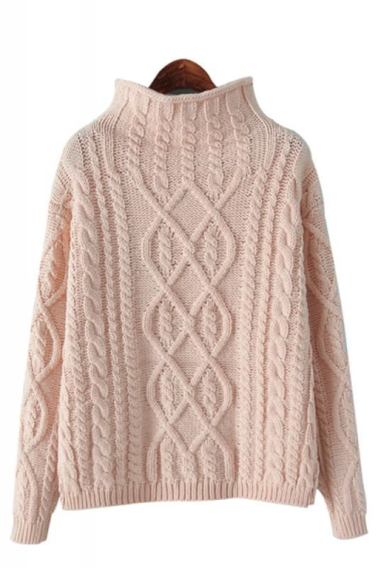 My favorite shade of Pink! Love Pale Pink! Cozy High Collar Long Sleeve Loose Pullover Sweater #Cozy #Pale #Pink #Cable #Knit #Winter #Sweater #Fashion