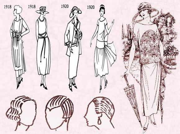 Nel campo dell'abbigliamento durante gli anni '20 per la prima volta la moda cessa di essere riservata ad un elite e si apre alle masse. I grandi magazzini portano infatti le novita' dell'abbigliamento immediatamente alla portata di tutti. Gli abiti ora sono semplici, pensati soprattutto per lasciare la maggior liberta' possibile nei movimenti: le linee sono dritte, i tessuti morbidi, la vita bassa, le gonne sempre piu' corte. I capelli per la prima volta vengono tagliati corti.