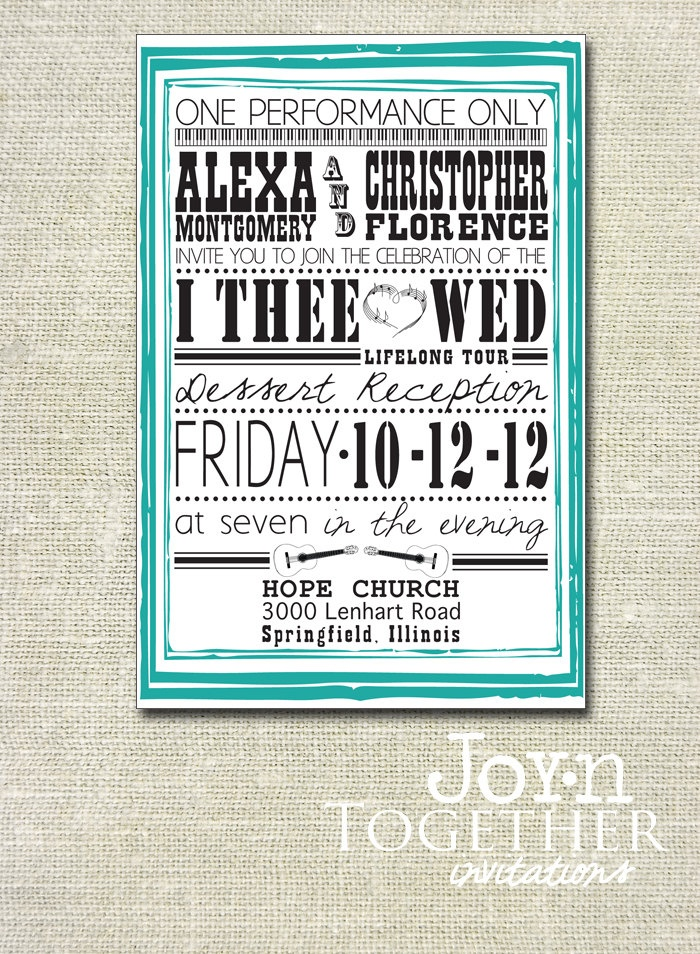 Musical Performance Wedding Invite - DIY Printable. $15.00, via Etsy.