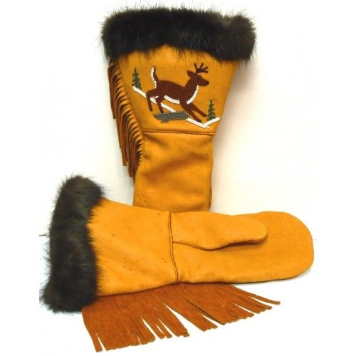 deer skin mittens with bead work - Google Search