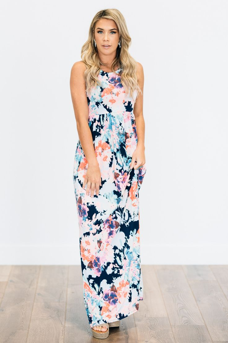 Watercolor Floral Maxi Dress All Over Big Bright And Bold Floral Print Pattern On A Racerback Maxi Dress Dresses Boutique Dresses Online Clothing Boutiques [ 1105 x 736 Pixel ]