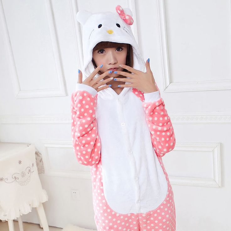 2016 Women Hello Kitty Pajamas Sets Warm Flannel Man Siamese Cute Cartoon Pajamas Winter Pink Dot Nightgowns Plus Size Wholesale