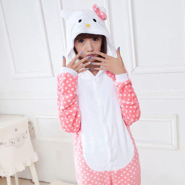 2016 Women Hello Kitty Pajamas Sets Warm Flannel Man Siamese Cute Cartoon Pajamas Winter Pink Dot Nightgowns Plus Size Wholesale