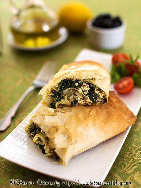 Greek-style Burrito made w/ olives & artichoke hearts