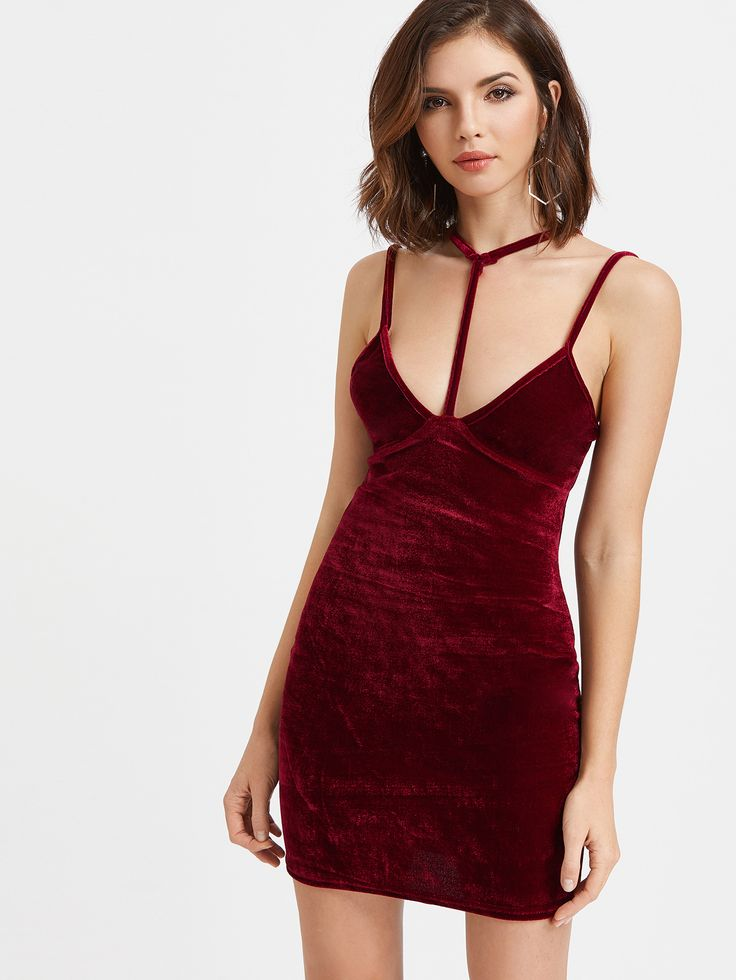 Shop Burgundy Velvet Choker Strap Bodycon Dress online. SheIn offers Burgundy Velvet Choker Strap Bodycon Dress & more to fit your fashionable needs.