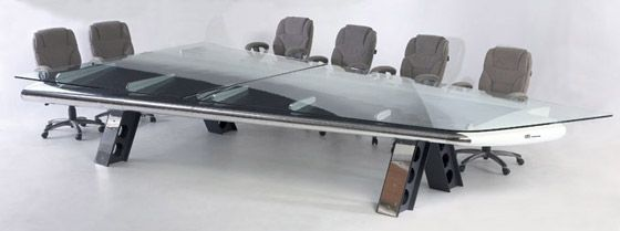 conference table made from plane parts.