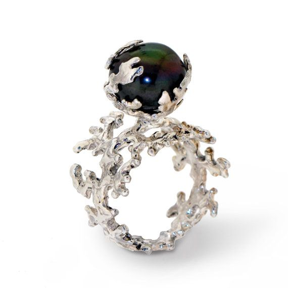 CORAL Black Pearl Ring Sterling Silver Ring with black peacock freshwater pearl by AroshaTaglia, $285.00