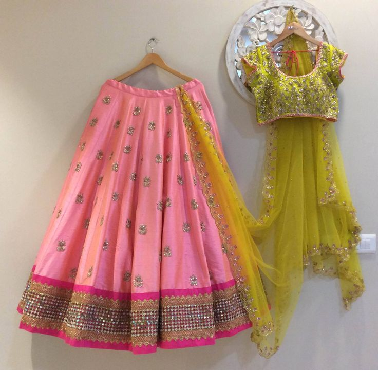 SC-L1180 : Pretty peach and green lehenga!!!!We can customize the colour   size as per your requirement.To order please call/ WhatsApp on 9949944178 or mail us at issadesignerstudio@gmail.com  11 March 2017