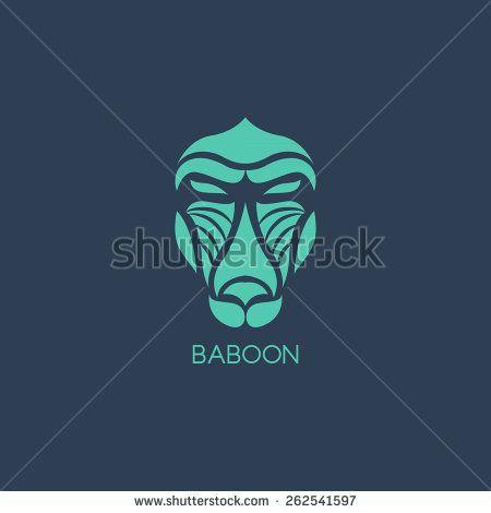 Baboon logo vector - stock vector
