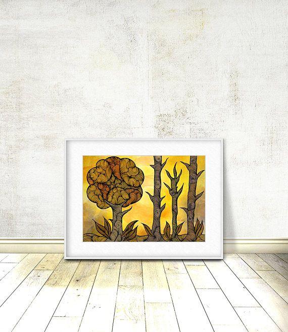 Autumn Landscape Autumn Trees Tree Print Autumn Wall Art