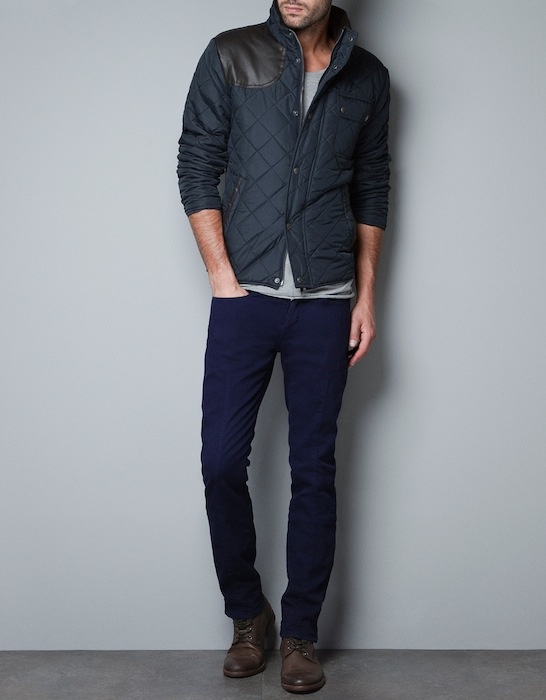 Zara Men's Quilted Jacket w/ Faux Leather Patch