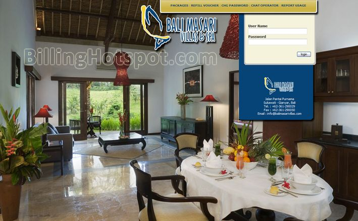 Tampilan loginpage hotspot pada software Billing Hotspot untuk Balimasari Villa & Spa di Gianyar, Bali, Indonesia