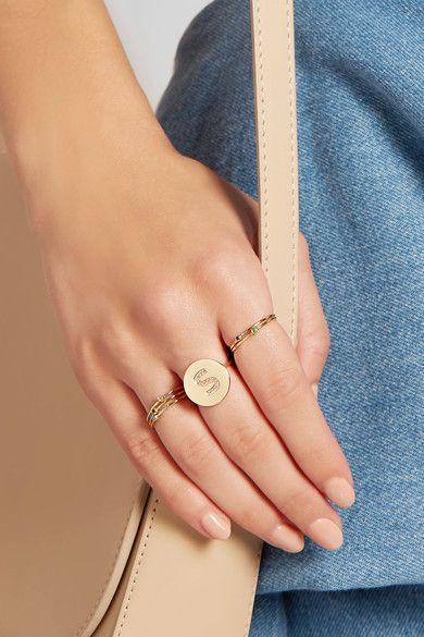 Jennifer Meyer - Letter 18-karat Gold Diamond Ring - A 6