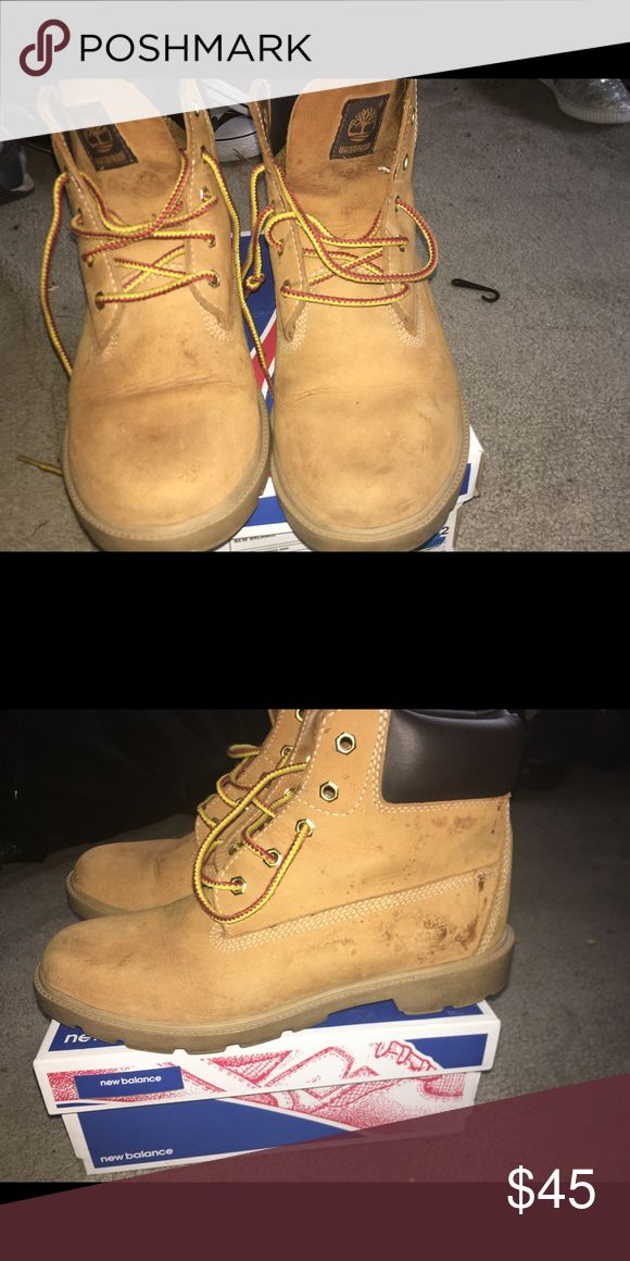 """Women's timberlands"""" construction color Worn but still full of life for kids who can't keep anything 😂 Timberland Shoes Ankle Boots & Booties"""