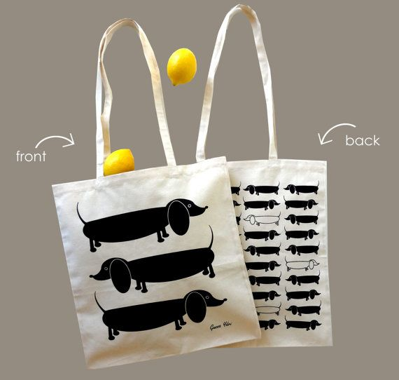 One New Scandinavian Retro 1970 off white canvas black sausage dog dachshund tote bag
