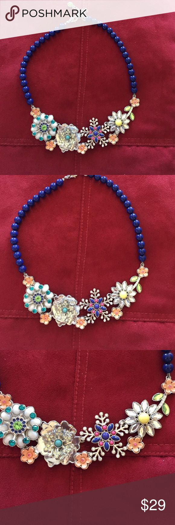 Lia Sophia Necklace Colorful Enamel on Silver Floral Motif combined w Blue Beaded Chain. Adjustable Lia Sophia Jewelry Necklaces