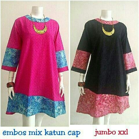 Tunik Batik mix katun embos polos  Ukuran Jumbo Harga: Rp. 150.000  Tanya tanya dan order  WA: 082274925209 BBM: D2B40BA0
