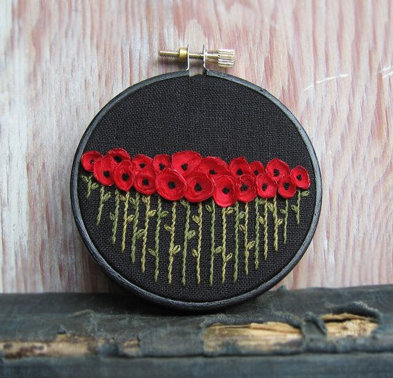 Red Poppies Hand Embroidered Fiber Art Wall Hanging by Sidereal / etsy