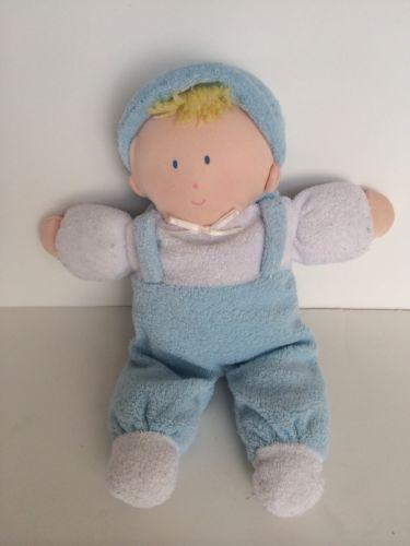 Boys Plush Toys : Eden soft blue terry boy doll lovey suspenders hat plush