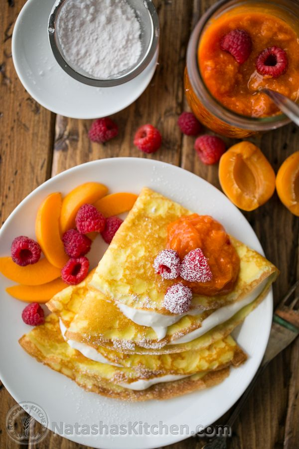 Crepes with Greek yogurt cream served with apricot raspberry sauce and ...