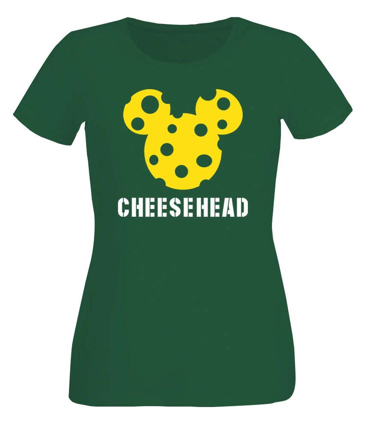 Lady's Green packers inspired Mickey Mouse cheesehead bottle green T-shirt by iganiDesign on Etsy