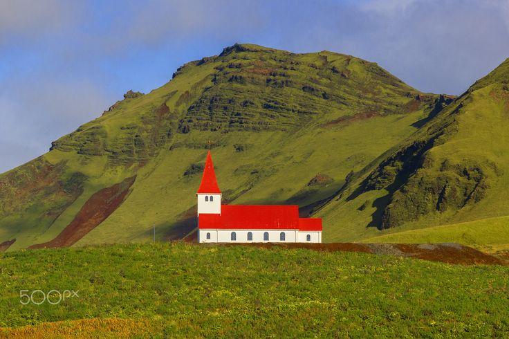 Vik i Myrdal Church - Vikurkirkja Church sits on hill overlooking the town of Vik, South Coast, Iceland