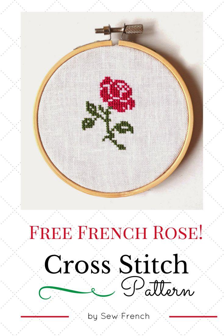 Free Rose Cross Stitch Pattern! Learn To Stitch! Handmade. Craft. Embroidery. Needlecraft. Pretty!