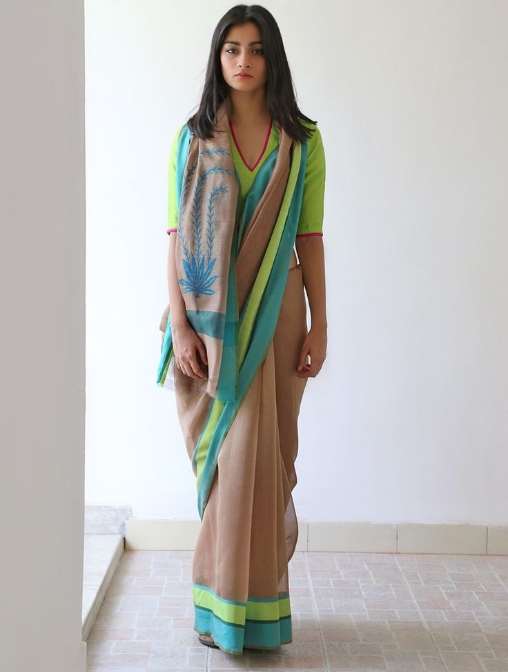 Brown Lime Green Cerulean Yale Blue Anjeer Chanderi & Zari #Saree By Raw…