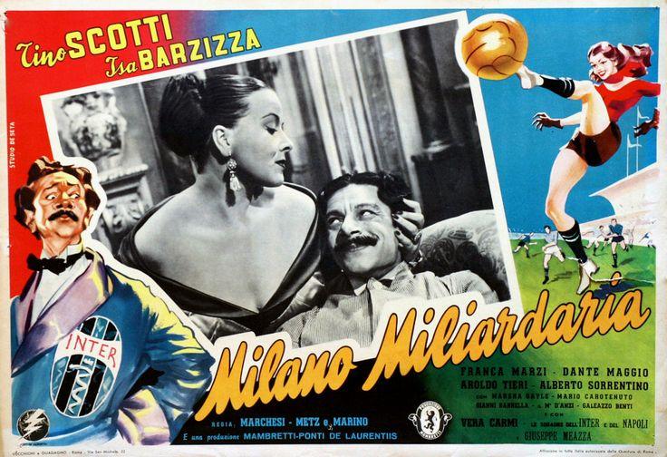"""Franca Marzi and Tino Scotti. Lobby card for Vittorio Metz and Marcello Marchesi's comedy """"Milano miliardaria"""" (Italian title: """"Billionaire Milan"""", 1951)."""