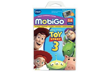 vtech MobiGo Toy Story 3 Join Woody, Buzz and the Gang with the fun VTech MobiGo Toy Story 3 game.Its time for Andy to go off to college while Woody, Buzz and the gang have ended up at Sunnyside Daycare centre. Use your finge http://www.comparestoreprices.co.uk/educational-toys/vtech-mobigo-toy-story-3.asp