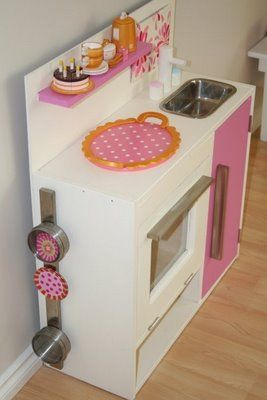 love the magnets on the side.: Diy Ideas, Kiddie Goodies, Kitchens Design, Diy Plays Kitchens, Future Kids, Ikea Hacks, Ikea Hackers, Ikea Kitchens, Kitchens Sets