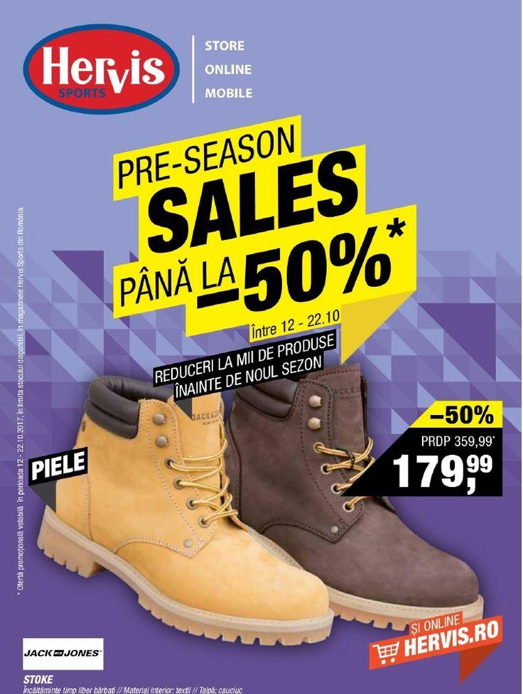 Catalog Hervis Sports Pre-Season Sales 12 - 22 Octombrie 2017! Oferte: Jack Jones Stoke incaltaminte timp liber pentru barbati 179,99 lei; reduceri la -50%