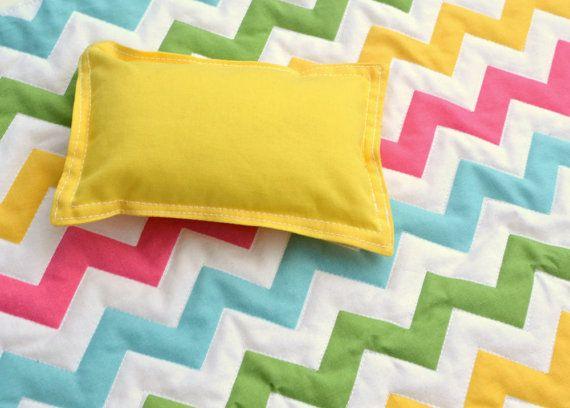 "So cute! 18"" Doll Quilt Blanket in Pastel Rainbow Chevron Fabric #rileyblakedesigns #spring #pastel #girl #doll #blanket"