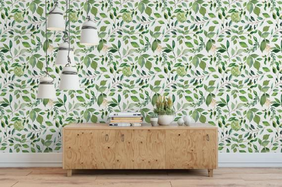 Green Leaves Small Removable Wallpaper Green Floral Peel And Stick Wallpaper Self Adhesive Reusable Wall Mural In 2019 Peel Stick Wallpaper Wall Murals Traditional Wallpaper