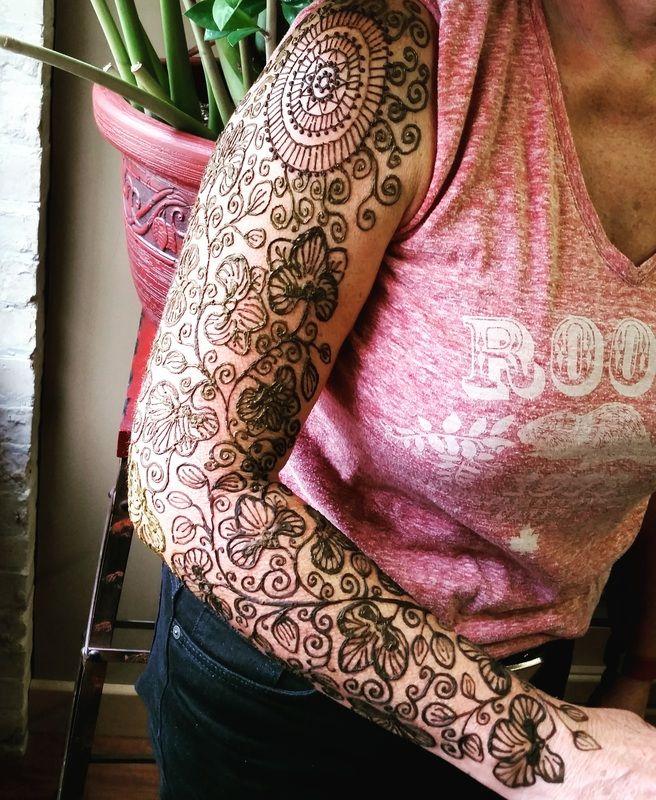 orchid henna tattoo sleeve - Winnipeg Henna Artist - Lady Lorelie Productions