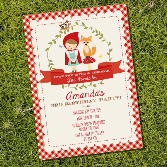 Little Red Riding Hood Party Invitation by SunshineParties on Etsy... SO cute! #LittleRedRidingHood #Woodland #Fox