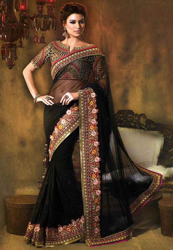 Black Saree #saree #sari #blouse #indian #hp #outfit #shaadi #bridal #fashion #style #desi #designer #wedding #gorgeous #beautiful