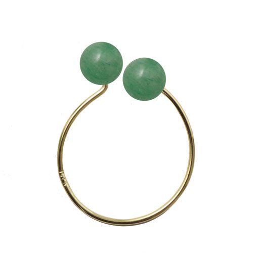 Til den første ring med aventuriner skal du bruge følgende:  1 stk. kreol 18 mm 2 stk. anborede aventuriner 6 mm + lim + bidtang  smyks.dk | smyks.com | smyks.de