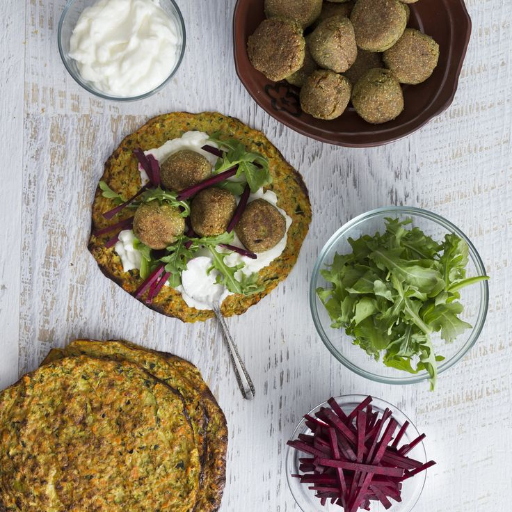 Zucchini tortillas with falafel | Thermomix | Vegetarian Kitchen cookbook and recipe chip | p. 140 |