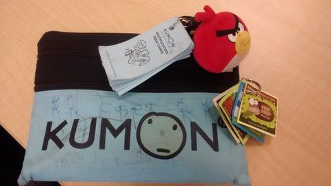 It's all in the accessories.  This KUMON bag is decked out.  Did you know KUMON kids earn among the highest test scores in Lexington, KY? Check it out: http://www.slideshare.net/AnnaSeacat/why-do-asian-american-children-earn-higher-scores-than-white-students-in-lexington-ky-30903605