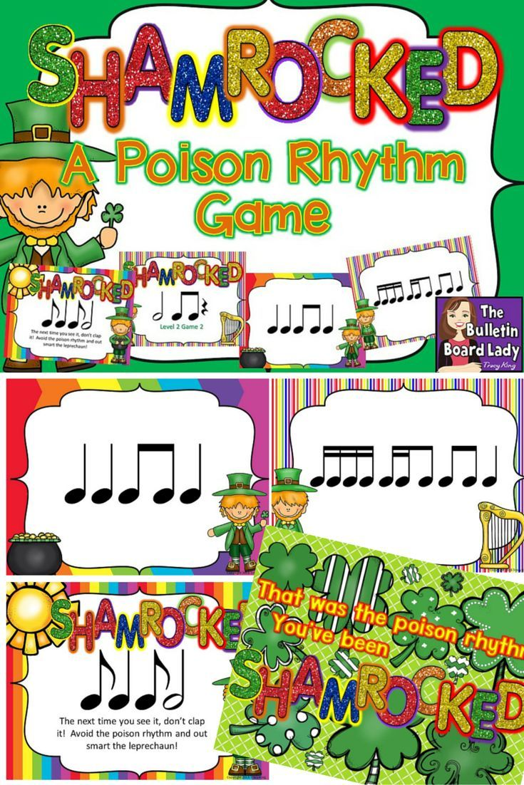 """Shamrocked - A Poison Rhythm Game. Poison rhythm games are a fun way to practice reading rhythms. Students identify the poison rhythm (8 different games) and then try NOT to clap it for the rest of the game. It is too funny when they do and see the 'You've been SHAMROCKED!"""" LOL. Love it!"""