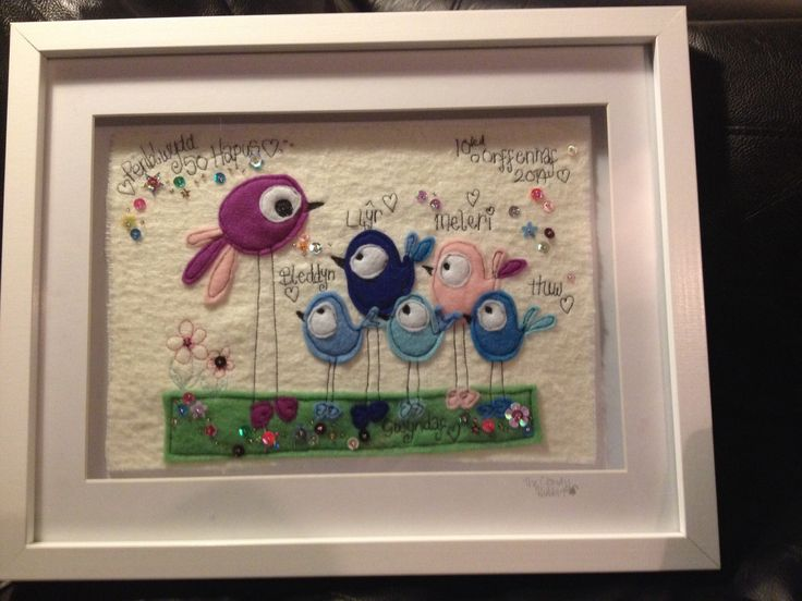 A Cloudy Rabbit Embroidered Keepsake commission piece. This was made for a customers Mum's 50th birthday. The large Purple bird represents the Mother, and the smaller ones are her children.   Order yours from www.fb.com/somethingalittlebitdiffeRnt  #cloudyrabbit # freehand #appliquèd #birds #fifty