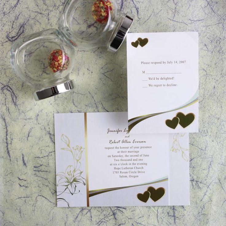 summer fete wedding invitations%0A Golden Hearts Wedding Invitation