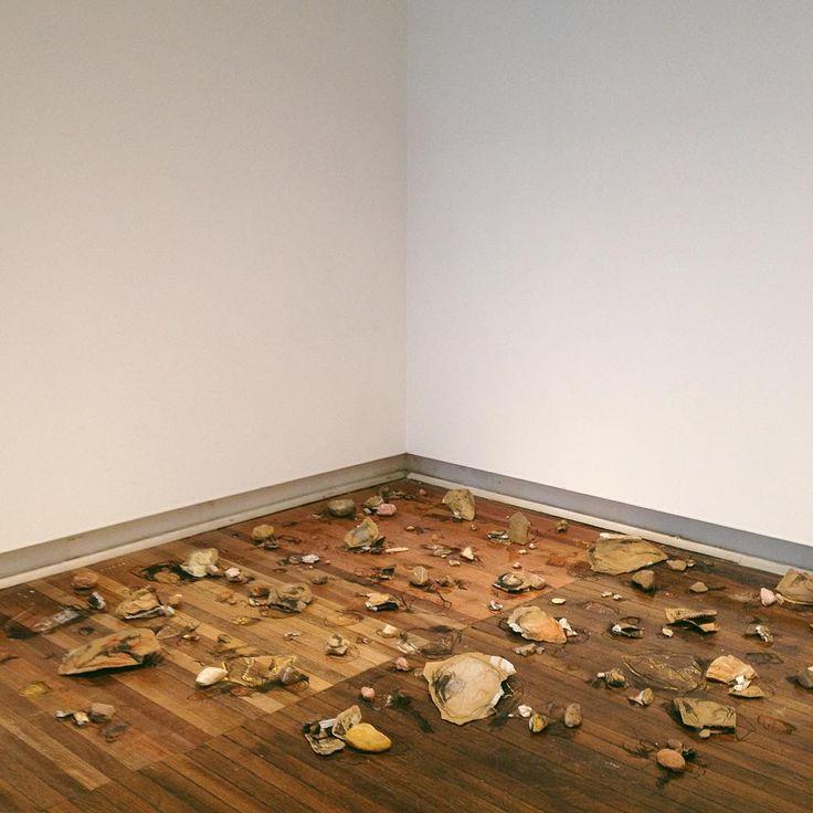 Murphy Bouma 'Bab's Rock Collection' 2015 Floor Installaton  Cardboard, charcoal, masking tape, pastel, paper, found rocks #art #installation #floorinstallation #landscapeart