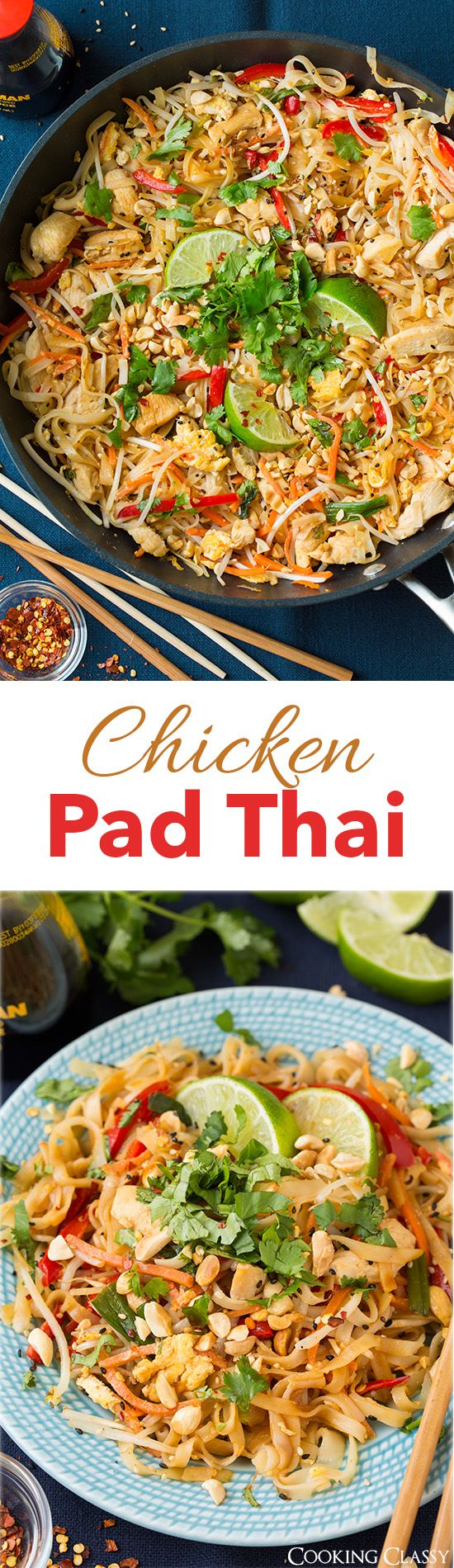 Chicken Pad Thai - this is SO SO good! We kept going back for more. Delicious crave worthy flavors. We loved it! #chicken #pad #thai http://www.cookingclassy.com/2015/03/chicken-pad-thai/ ❤️