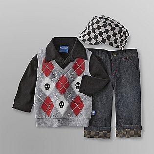 Miniville- -Infant Boy's Vest, Top, Jeans & Cabbie Hat. Omergerd! $13.99 Christmas?