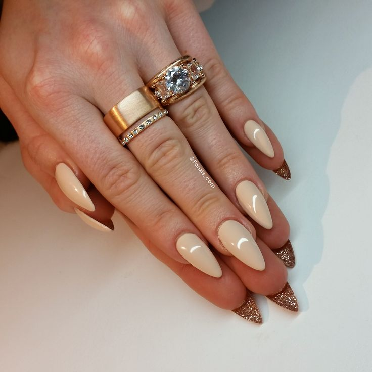 Nude nails with glitter underneath