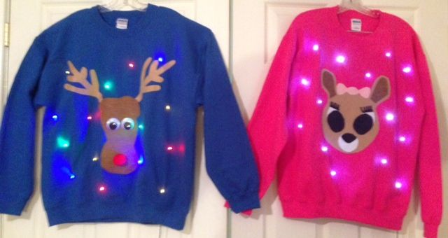 """Rudolph and Clarice are the perfect ugly Christmas sweaters for couples!    Check out Tipit Designs on Etsy for an awesome collection of these light up """"ugly"""" sweaters!!  https://www.etsy.com/shop/TipitDesigns?ref=l2-shopheader-name"""