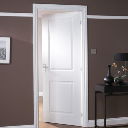 2 Panel White Smooth Internal Door, NAT29CAMB B And Q